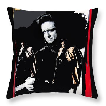 Throw Pillow featuring the photograph Johnny Cash Multiples  Trench Coat Sitting Collage 1971-2008 by David Lee Guss