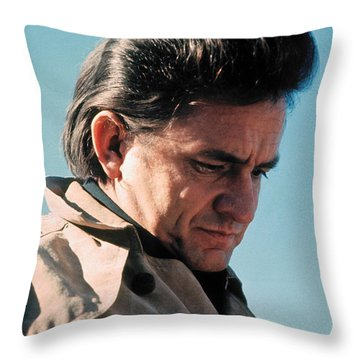 Throw Pillow featuring the photograph Johnny Cash  Music Homage Ballad Of Ira Hayes Old Tucson Arizona 1971 by David Lee Guss