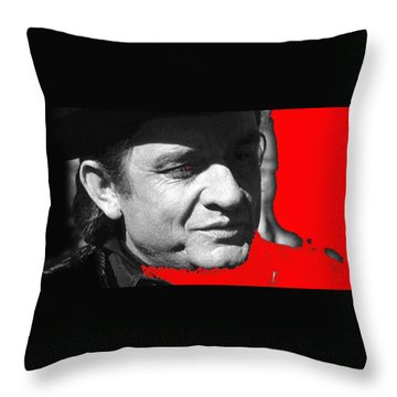 Throw Pillow featuring the photograph Johnny Cash Music Homage Ring Of Fire Old Tucson Arizona 1971 by David Lee Guss