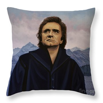 Johnny Cash Painting Throw Pillow by Paul Meijering