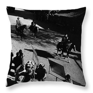 Throw Pillow featuring the photograph Johnny Cash Riding Horse Filming Promo Main Street Old Tucson Arizona 1971 by David Lee Guss