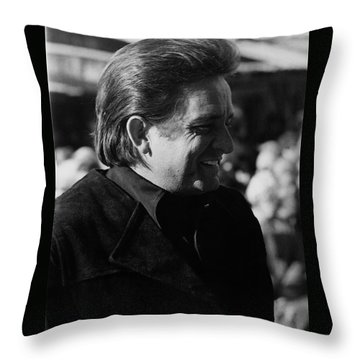Throw Pillow featuring the photograph Johnny Cash Smiling Old Tucson Arizona 1971 by David Lee Guss