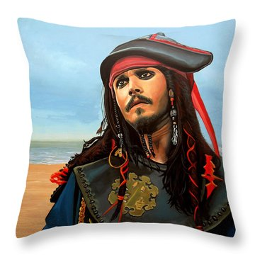 Johnny Depp As Jack Sparrow Throw Pillow by Paul Meijering