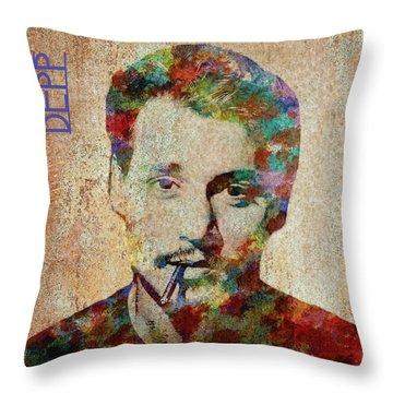 Johnny Depp Watercolor Splashes Throw Pillow