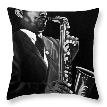 Johnny Hodges Throw Pillow by Barbara McMahon