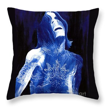 Johnny Lang - The Blues Throw Pillow by Mark Beach