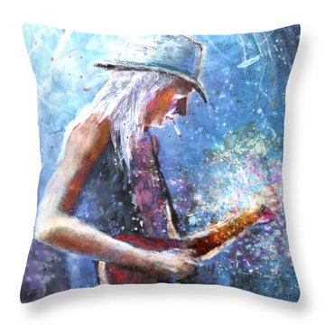 Johnny Winter Throw Pillow