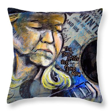 Johnny Winter Painted Guitar Throw Pillow
