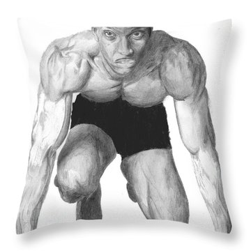 Throw Pillow featuring the drawing Johnson by Tamir Barkan