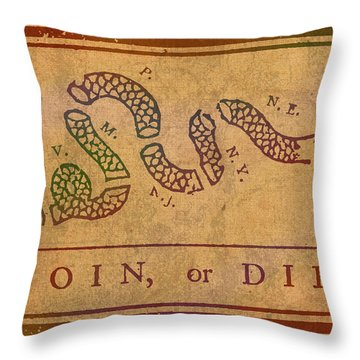Join Or Die Benjamin Franklin Political Cartoon Pennsylvania Gazette Commentary 1754 On Parchment  Throw Pillow