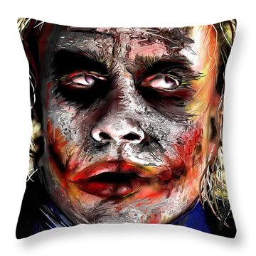 Joker Painting Throw Pillow by Daniel Janda