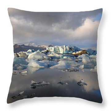 Jokulsarlon Glacier Lagoon Panorama Throw Pillow