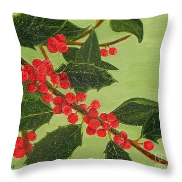 Throw Pillow featuring the painting Jolly Holly Berries by Shelia Kempf