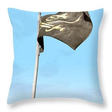 Jolly Roger Pirate Flag Far Throw Pillow