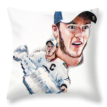Jonathan Toews - The Season Throw Pillow by Jerry Tibstra