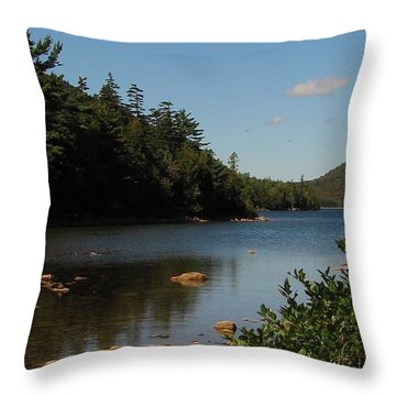 Throw Pillow featuring the photograph Jordan Pond Bar Harbor Maine by Jennifer Wheatley Wolf