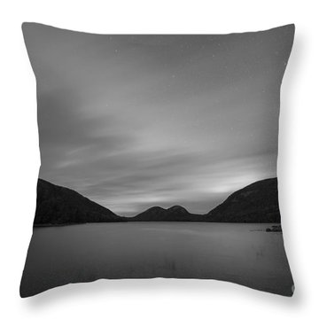 Throw Pillow featuring the photograph Jordan Pond Blue Hour Bw by Michael Ver Sprill