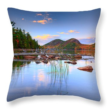 Jordan Pond In Fall Throw Pillow