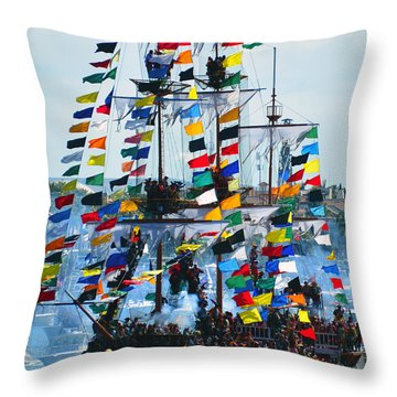 Jose Gasparilla Ship Work B Throw Pillow