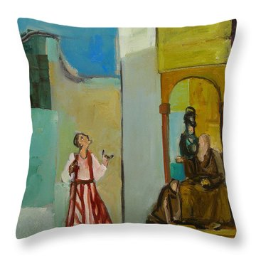 Joseph Sent To His Brothers Throw Pillow by Richard Mcbee