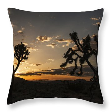Joshua Tree Sunset Silhouette 2 Throw Pillow by Lee Kirchhevel