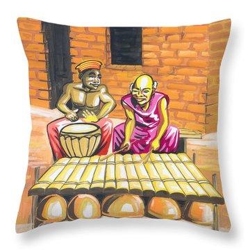Throw Pillow featuring the painting Joueurs De Balafon Et De Tam Tam by Emmanuel Baliyanga