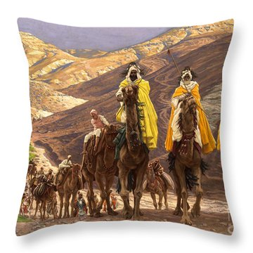 Journey Of The Magi Throw Pillow by Tissot