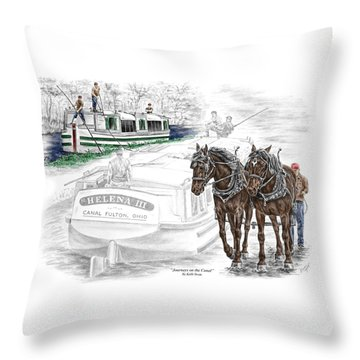 Journeys On The Canal - Canal Boat Print Color Tinted Throw Pillow