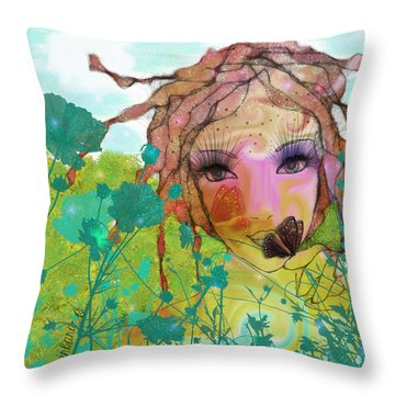 Throw Pillow featuring the digital art Joy by Barbara Orenya
