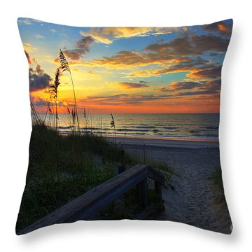 Joy Comes In The Morning Sunrise Carolina Beach Nc Throw Pillow by Wayne Moran