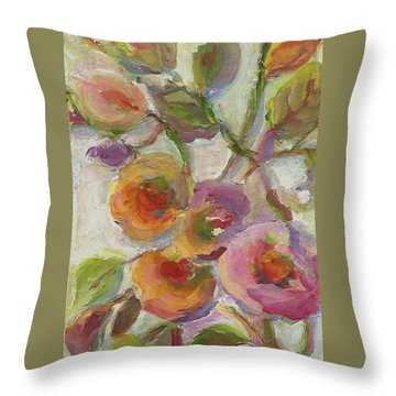 Throw Pillow featuring the painting Joy by Mary Wolf