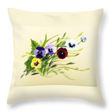 Joy Of Pansies Field Throw Pillow