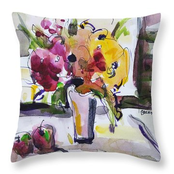 Throw Pillow featuring the painting Joy Of Spring by Becky Kim