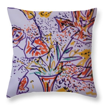 Throw Pillow featuring the painting Joy by Rosemary Colyer
