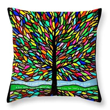 Joyce Kilmer's Tree Throw Pillow