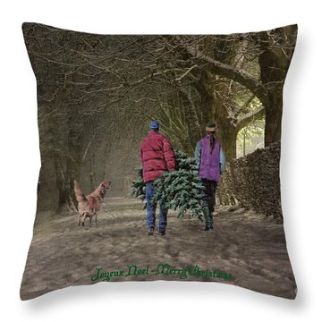 Joyeux Noel - Merry Christmas Throw Pillow by Lianne Schneider