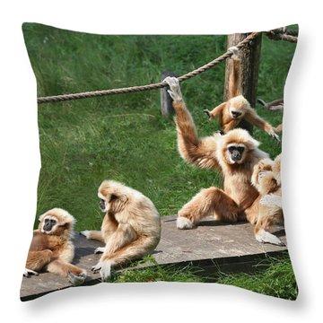 Joyful Monkey Family Throw Pillow
