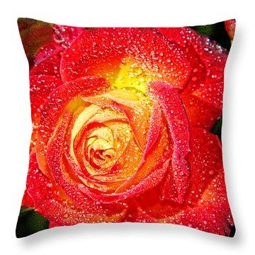 Joyful Rose Throw Pillow by Mariola Bitner