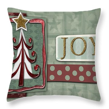Joyful Tree Card Throw Pillow by Arline Wagner