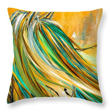 Joyous Soul- Yellow And Turquoise Artwork Throw Pillow
