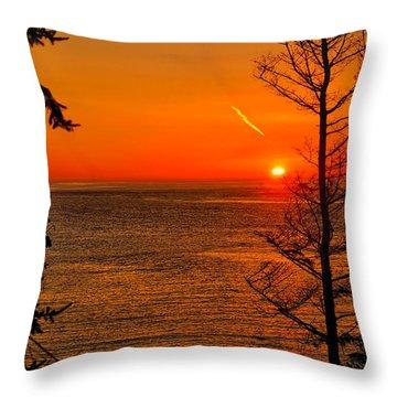 Juan De Fuca Sunset Throw Pillow by Greg Norrell
