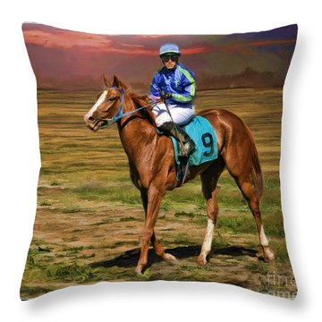 Juan Hermandez On Horse Atticus Ghost Throw Pillow