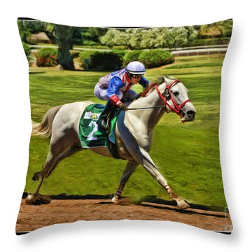 Juan Sanchez On Horse Sammy V  Throw Pillow by Blake Richards