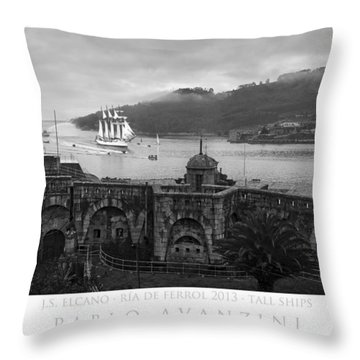 Juan Sebastian Elcano Arrival To The Port Of Ferrol Throw Pillow
