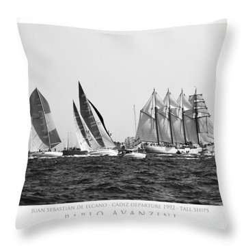 Juan Sebastian Elcano Departing The Port Of Cadiz Throw Pillow