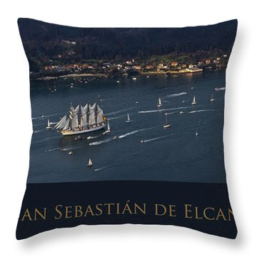 Juan Sebastian Elcano Departing The Port Of Ferrol Throw Pillow