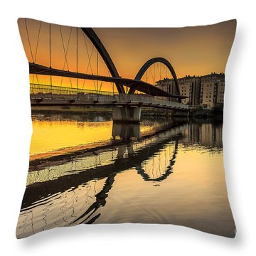 Jubia Bridge Naron Galicia Spain Throw Pillow
