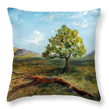 Throw Pillow featuring the painting Jubilant Fields by Meaghan Troup