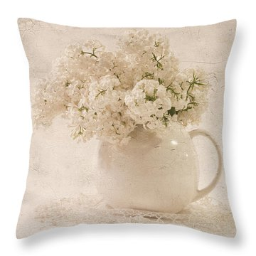 Throw Pillow featuring the photograph Jug Of White Lilacs by Sandra Foster