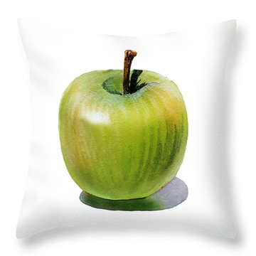 Throw Pillow featuring the painting Juicy Green Apple by Irina Sztukowski